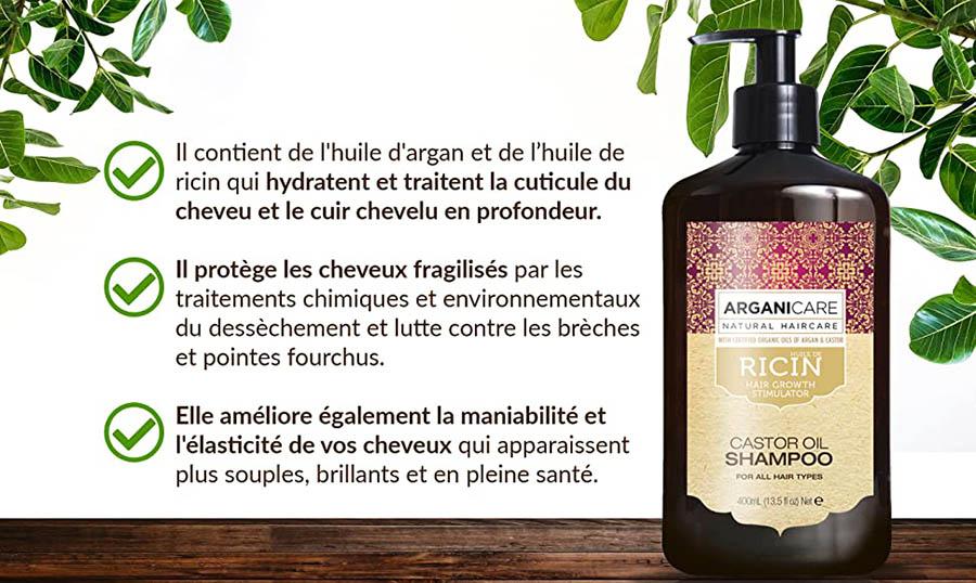 Avis Arganicare Shampooing accélérateur de croissance à l'huile de ricin Bio. 400ml